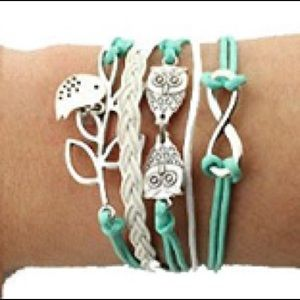 🦉Owl Teal Woven Leather Braided Infinity Bracelet